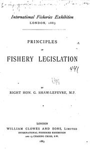 Cover of: Principles of Fishery Legislation |