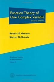 Cover of: Function theory of one complex variable