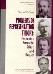 Cover of: Pioneers of representation theory