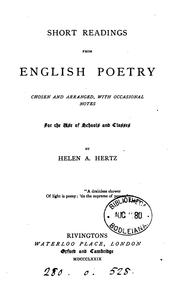Cover of: Short readings from English poetry, chosen and arranged with notes by H.A. Hertz |