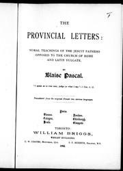 Cover of: The provincial letters | by Blaise Pascal