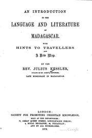 Cover of: An Introduction to the Language and Literature of Madagascar |
