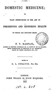 Cover of: Domestic medicine; or, Plain instructions in the art of preserving and restoring health [tr ... |