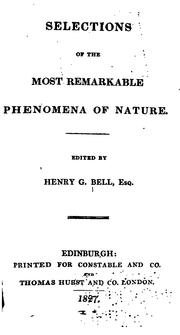 Cover of: Selections of the Most Remarkable Phenomena of Nature