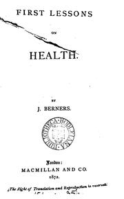Cover of: First lessons on health