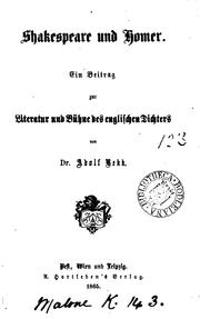 Cover of: Shakespeare und Homer