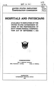 Cover of: Hospitals and Physicians Available to Employees of the United States ...