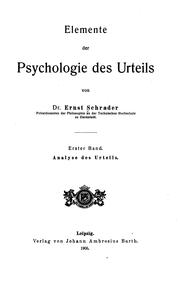Cover of: Elemente der Psychologie des Urteils