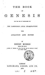 Cover of: The Book of Genesis for the use of candidates for the Cambridge local examinations, with ... |