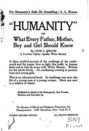 "Cover of: ""Humanity""; Or, What Every Father, Mother, Boy and Girl Should Know"