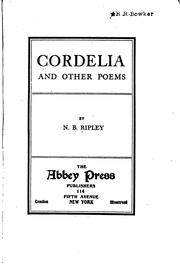 Cover of: Cordelia and Other Poems