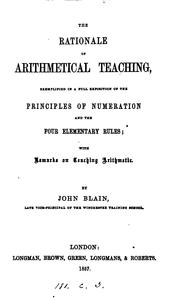 The rationale of arithmetical teaching exemplified