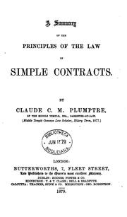 Cover of: A Summary of the Principles of the Law of Simple Contracts |