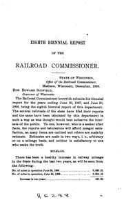 Cover of: Biennial Report of the Railroad Commissioner of the State of Wisconsin |
