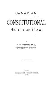Cover of: Canadian Constitutional History and Law |