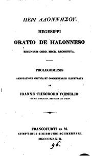 Cover of: GPerì Ălonnýsou prolegomenis, annotatione illustr. ab I.T. Vœmelio