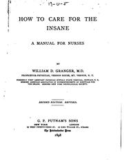 Cover of: How to Care for the Insane: A Manual for Nurses