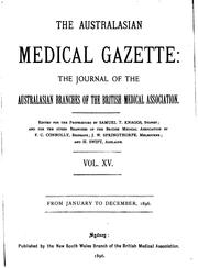 Cover of: Australasian Medical Gazette |