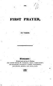 Cover of: The First Prayer: In Verse. |