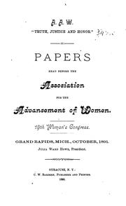 Cover of: Papers Read Before the Association for the Advancement of Women |