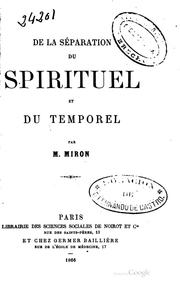 Cover of: De la Séparation du spirituel et du temporel