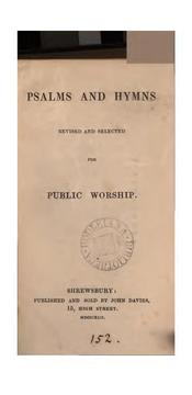 Cover of: Psalms and hymns revised and selected for public worship |