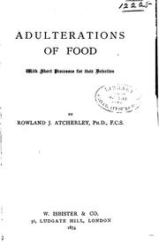 Cover of: Adulteration of Foods.. |