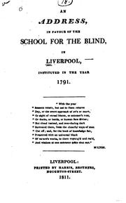 Cover of: Address In Favour Of The School For The Blind