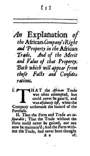 Cover of: An explanation of the African-company's property in the sole trade to Africa