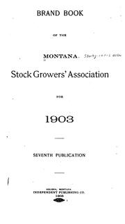 Cover of: Brand Book of the Montana Stock Growers' Association for 1903. 7th Publication