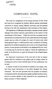 Cover of: The Insanity law of the state of New York |
