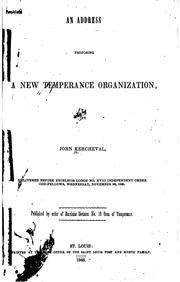 Cover of: An Address Proposing a New Temperance Organization