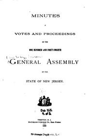 Cover of: Minutes of Votes and Proceedings of the General Assembly of the State of New ... |