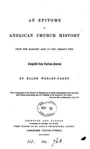 Cover of: An epitome of Anglican Church history: From the Earliest Ages to the Present Time