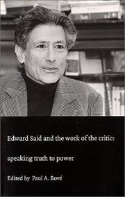 Cover of: Edward Said and the Work of the Critic |