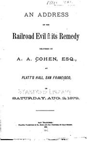 Cover of: An Address on the Railroad Evil and Its Remedy