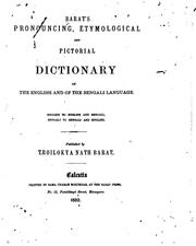 Cover of: Barat's Pronouncing, Etymological, and Pictorial Dictionary of the English and of the Bengali ...