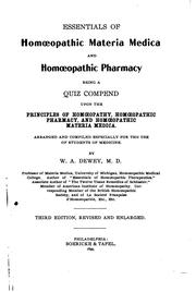 Cover of: Essentials of Homoeopathic Materia Medica and Homoeopathic Pharmacy: Being a ... |