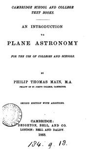 Cover of: An introduction to plane astronomy | Philip Thomas Main