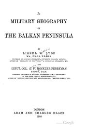 Cover of: A Military Geography of the Balkan Peninsula | Lionel William Lyde