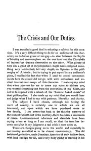 Cover of: The Crisis and Our Duties