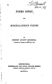 Cover of: Poems, Songs Ad Miscellaneous Pieces | Henry Scott Riddell