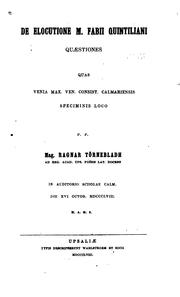 Cover of: De elocutione M. Fabii Quintiliani quæstiones