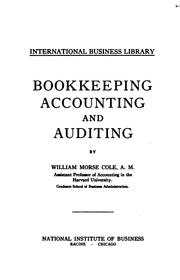 Cover of: Bookkeeping, Accounting and Auditing | William Morse Cole