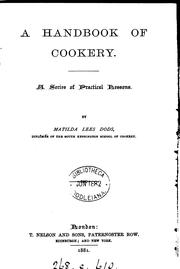 Cover of: A handbook of cookery