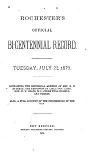 Cover of: Rochester's Official Bi-centennial Record: Tuesday, July 22, 1879