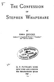 Cover of: The Confession of Stephen Whapshare