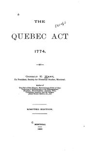 Cover of: The Quebec Act, 1774 ..