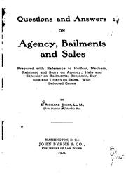 Cover of: Questions and Answers on Agency, Bailments and Sales