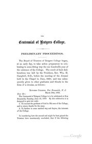 Cover of: The Centennial Celebration of Rutgers College, June 21, 1870 | Rutgers University